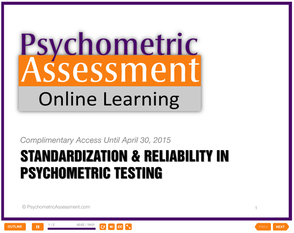Psychometric Test Reliability & Standardization Free Online Lesson