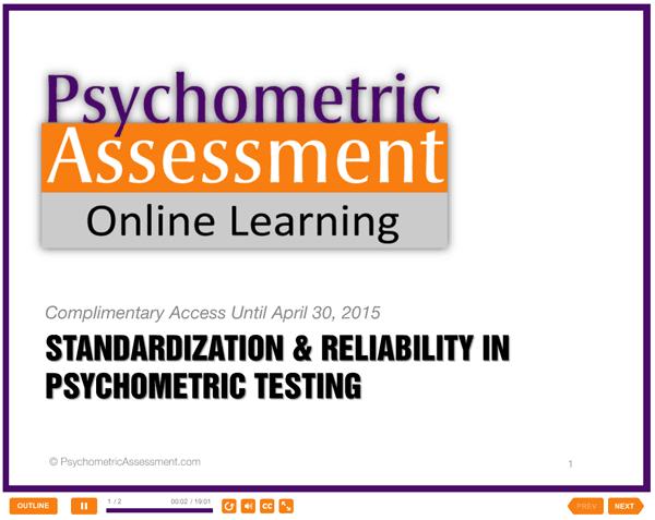 Psychometric Test Reliability & Standardization Free Online Lesson