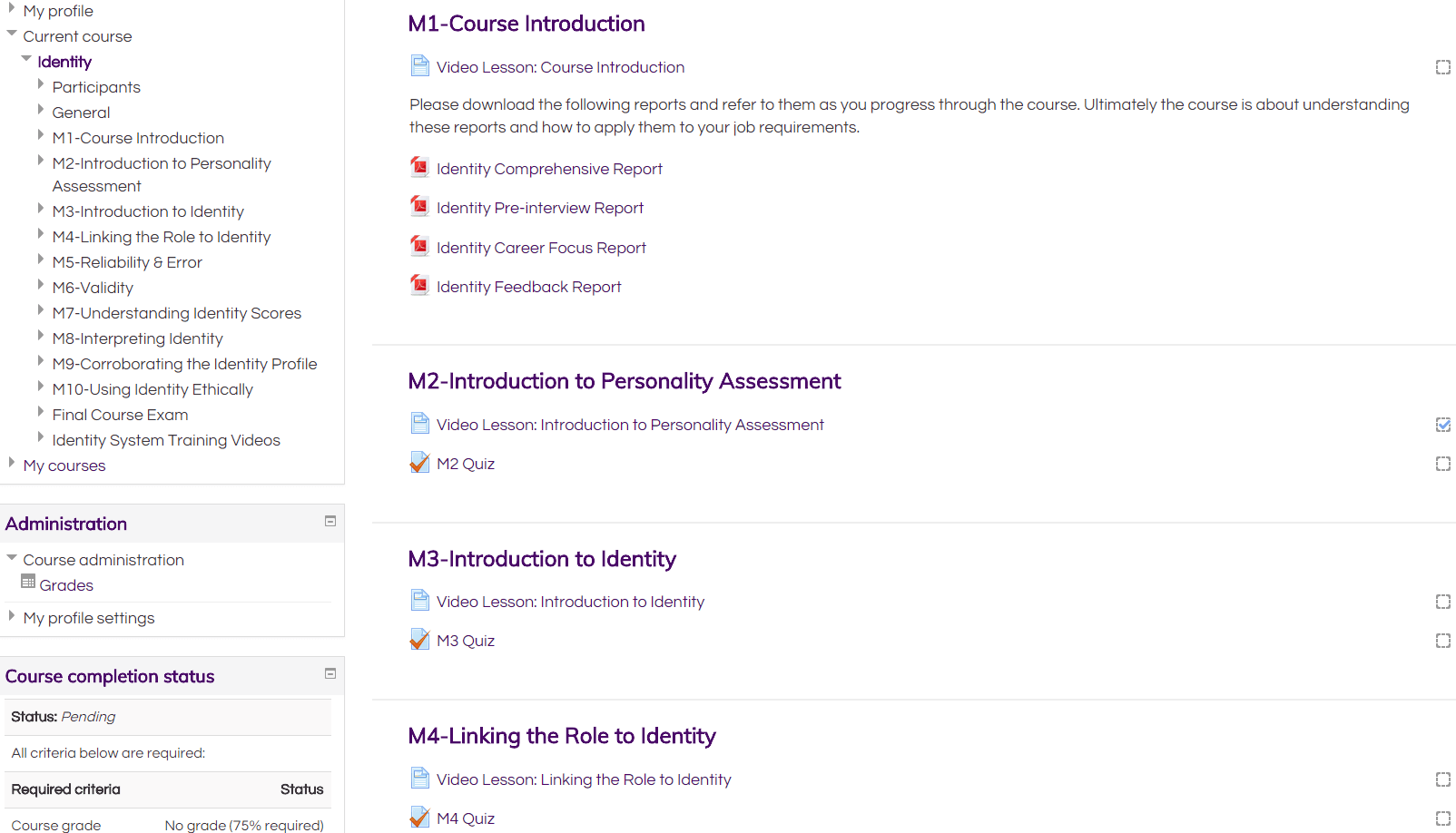Identity Online Personality Assessment User Course
